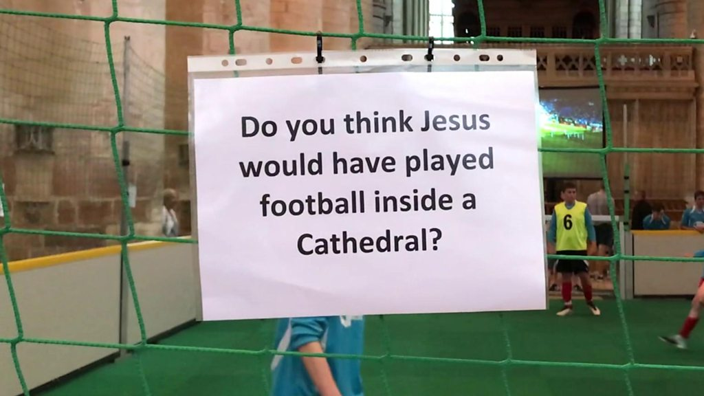 Football tournament held inside Gloucester Cathedral