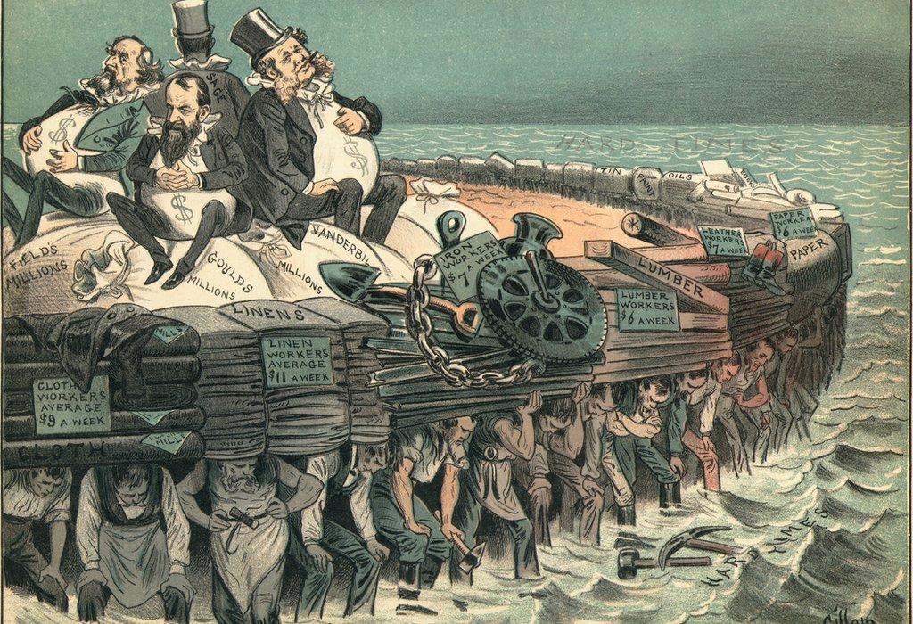 Caricatura política contra los barones ladrones Cyrus Field, Jay Gould, Cornelius Vanderbilt y Russell Sage, 1883. Los trabajadores luchan para sostener las industrias de la madera, el papel y el lino con trabajos de bajo salario.