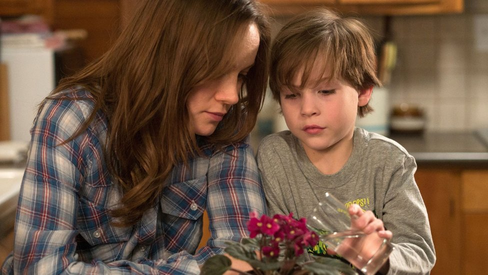 Brie Larson (left) and Jacob Tremblay in a scene from Room