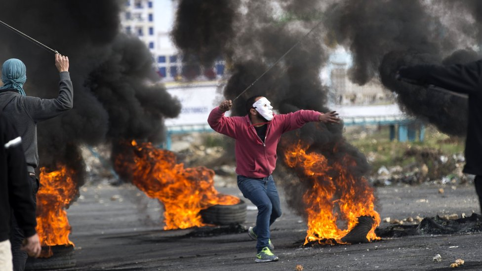 Tepi Barat, Palestina, unjuk rasa, Trump