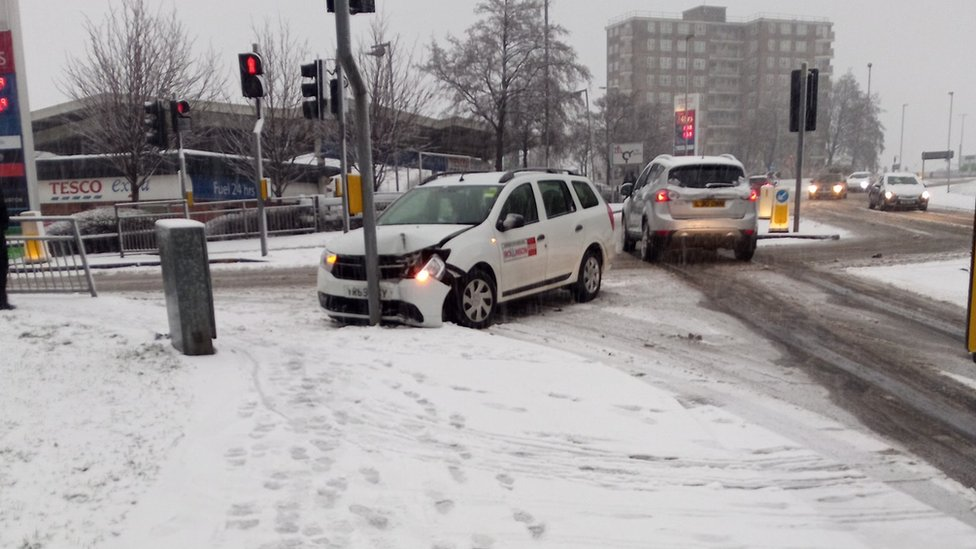 Taxi crashed in Seacroft, Leeds