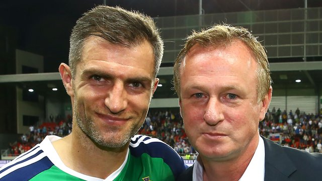 Northern Ireland manager Michael O'Neill introduced Aaron Hughes for his 100th cap in Saturday's friendly draw in Slovakia