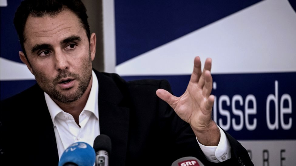 Herve Falciani gives a press conference in Divonne-les Bains on October 28, 2015