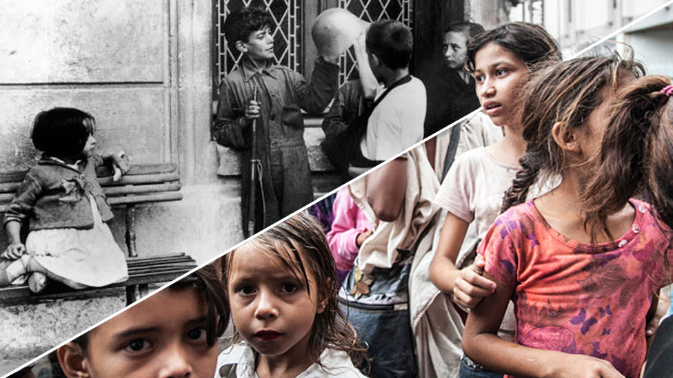 A composite image, cut diagonally, shows an old black-and-white photo of Spanish children playing with a rifle and helmet during the Spanish civil war ; and right, a modern colour image of hungry children in Caracas, Venezuela