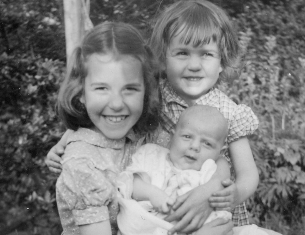 Penelope, Rosalind and Victoria as a baby