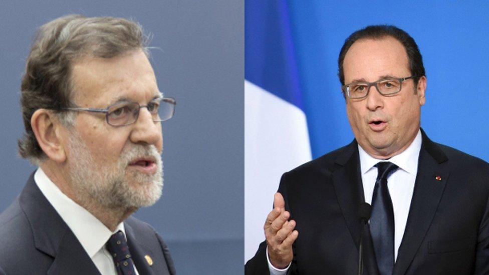 Mariano Rajoy and Francois Hollande