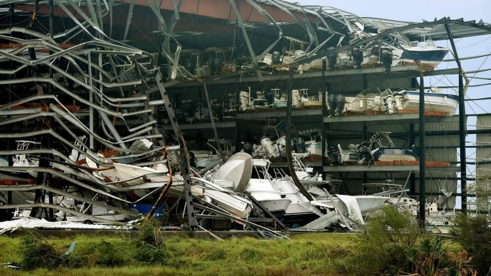 Damaged boats in a multi-level storage facility are seen following passage of Hurricane Harvey at Rockport (26 August 2017)