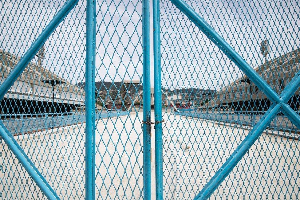 Locked gate at the entrance of the Sambadrome