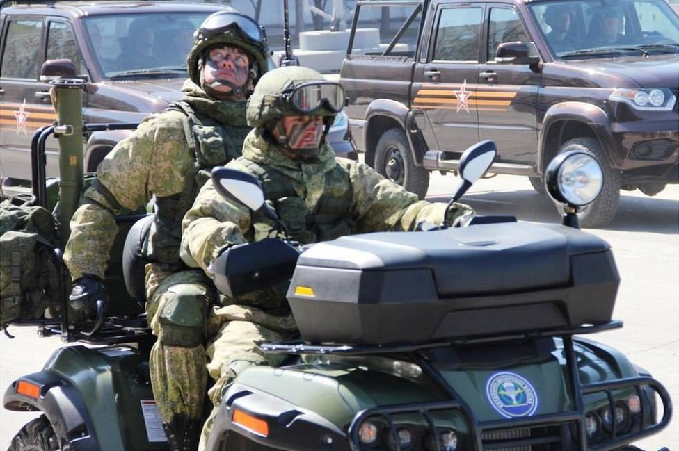 Russian troops on small new jeep, 6 May Victory Day rehearsal