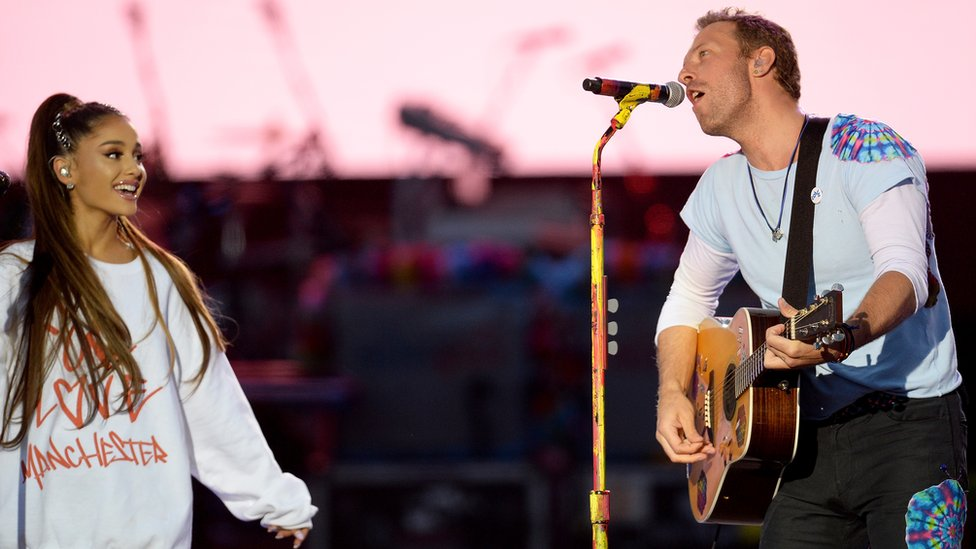 Ariana Grande and Chris Martin