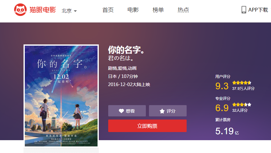 Your Name on the Chinese film rating site, Maoyan
