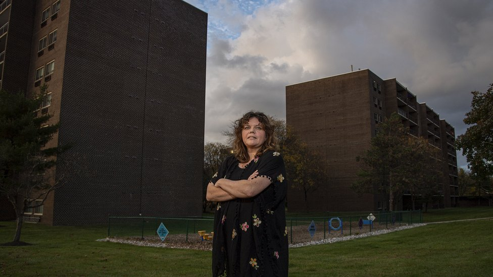 Kim Kriebel, shown at her apartment block
