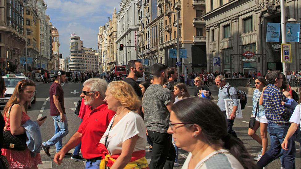 Peatones en el centro de Madrid