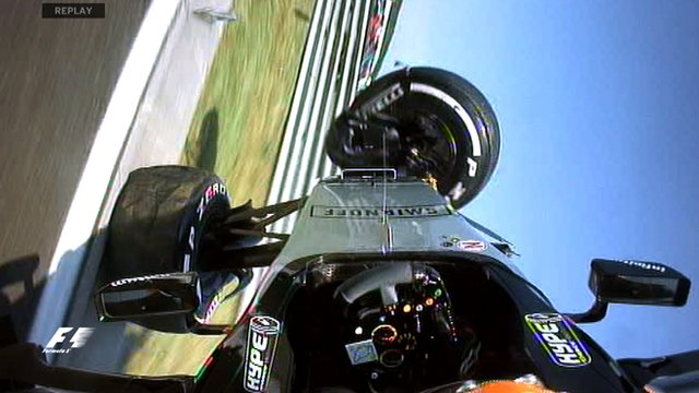 Sergio Perez flips his Force India in practice at the Hungarian Grand Prix