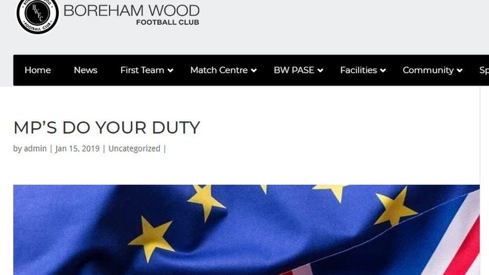 Boreham Wood FC's 'weird' 1,400-word Brexit post