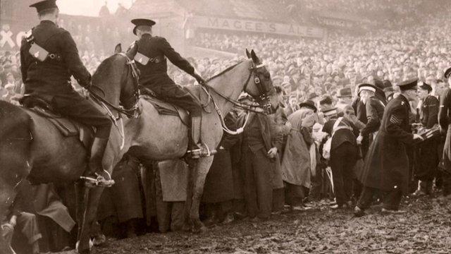 Officers on horseback at Burnden Park