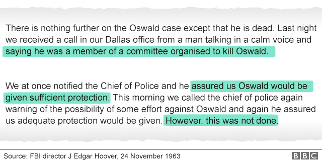 """Image shows a selection of an FBI memo that reads: """"We at once notified the chief of police and he assured us Oswald would be given sufficient protection""""."""