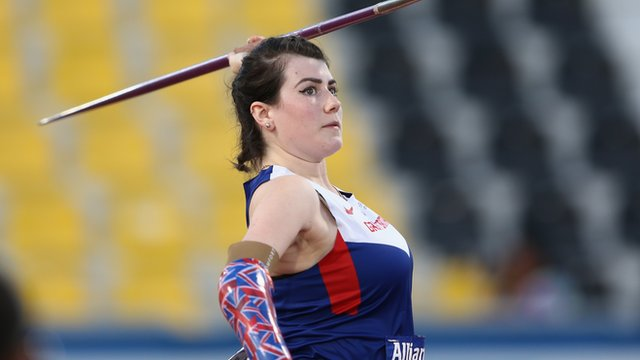 Hollie Arnold Great Britain in the women's javelin F46 final at the IPC Athletics World Championships in Doha.