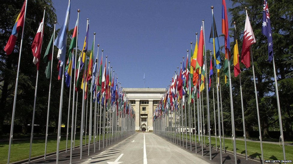 View of the main entrance of the Palace of Nations (Palais des Nations) which houses the European headquarters of the UN (United Nations), in Geneva 28 May 2004.