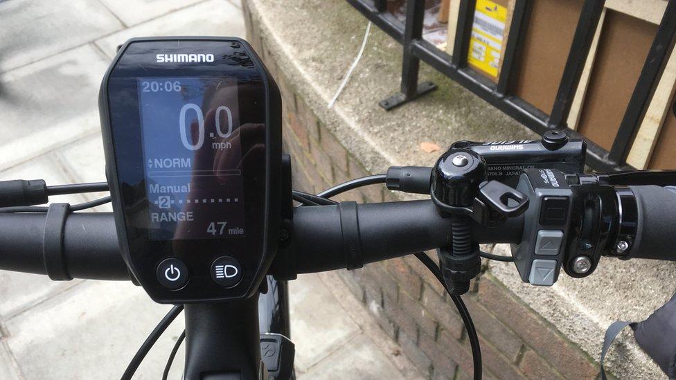 Handlebars of e-bike