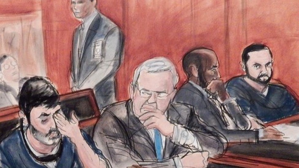 Courtroom sketch of Efrain Campo and Francisco Flores