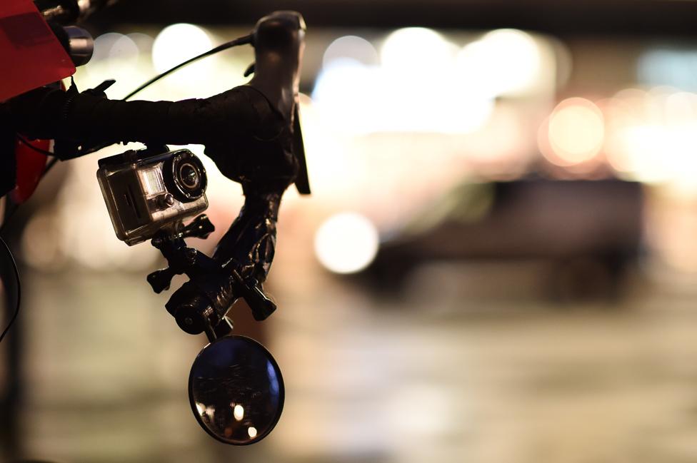 One of eight cameras on the bike belonging to London 'carriageway vigilante', cyclist Lewis Dediare, is seen in London on December 15, 2014.