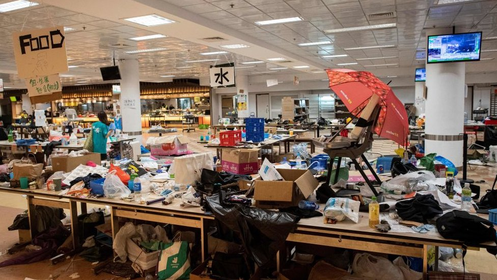 A general view shows a canteen inside the Hong Kong Polytechnic University