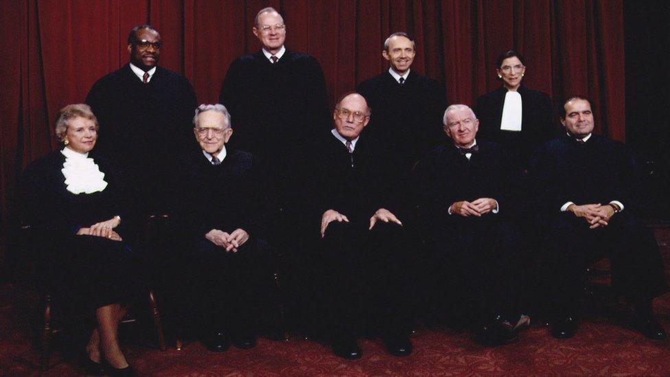 Miembros de la Corte Suprema en 1993.