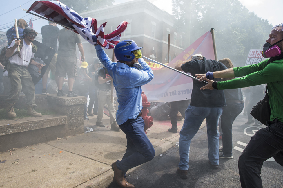White supremacists clash with counter-protesters