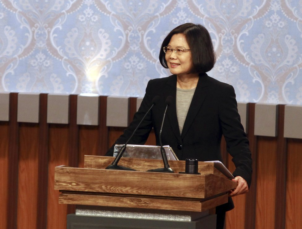 Taiwan's 2016 presidential election candidate of Democratic Progressive Party's, DPP, Tsai Ing-wen stands at her podium before her first televised policy debate.