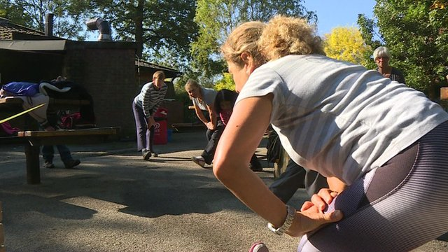 London pensioners take part in exercise class