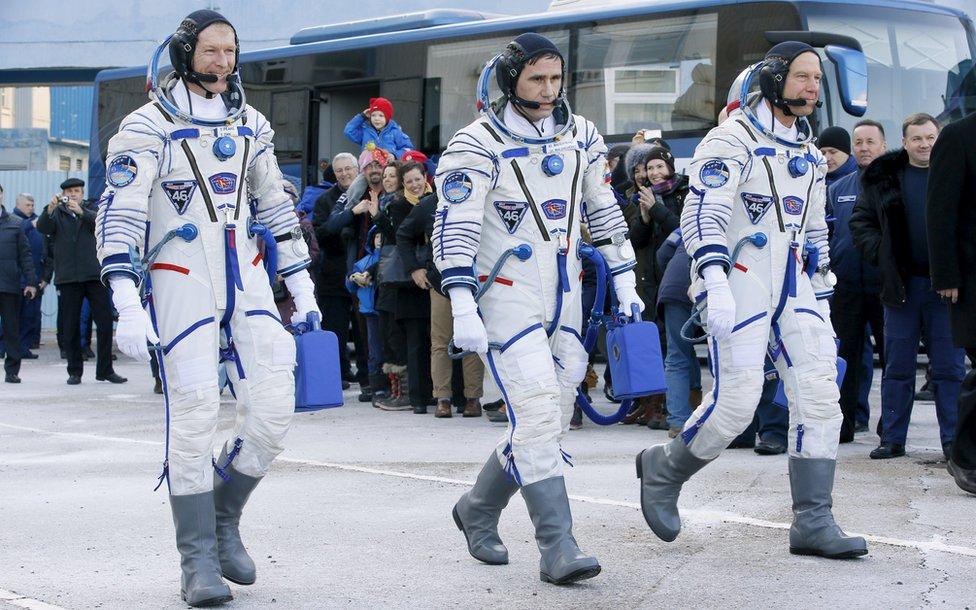 UK astronaut Tim Peake, Russian cosmonaut Yuri Malenchenko and US astronaut Tim Kopra