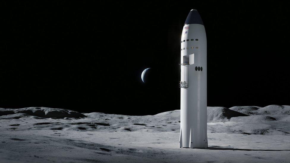 Ilustración de la nave en la Luna.