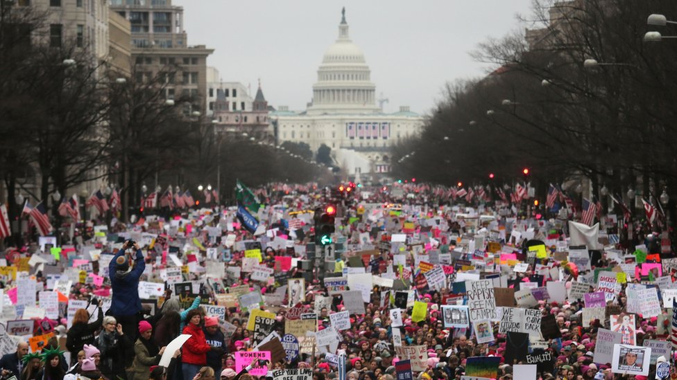The crowd in Washington during the Women's March