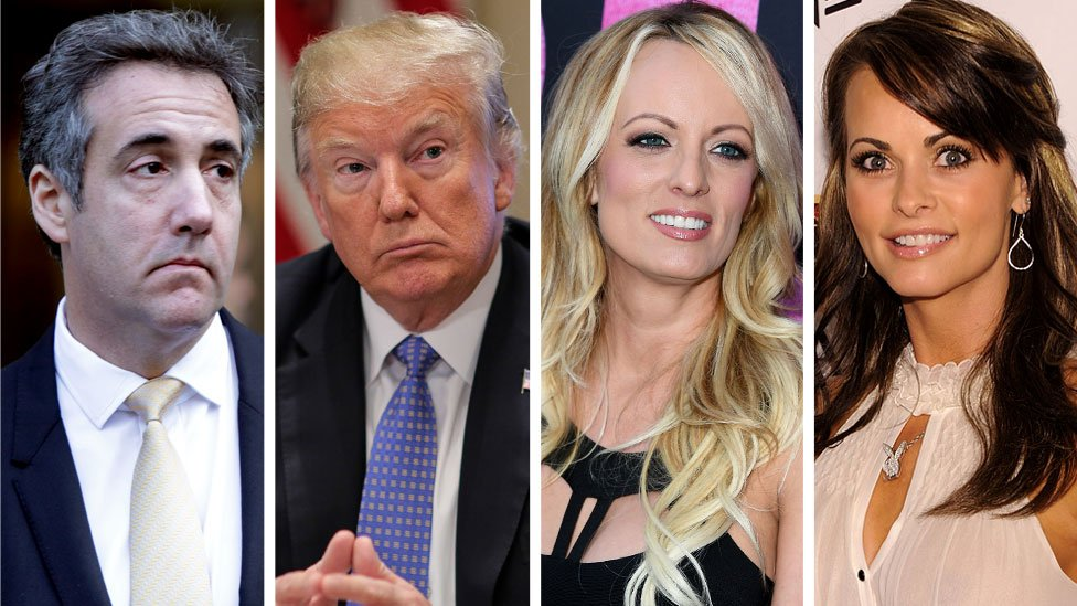From left: Michael Cohen, Donald Trump, Stormy Daniels and Karen McDougal (composite image)