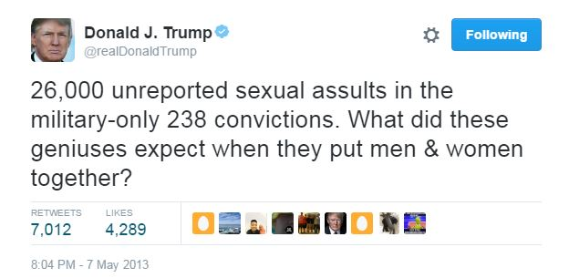 "Donald Trump tweets: ""26,000 unreported sexual assaults in the military - only 238 convictions. What did these genuises expect when they put men & women together?"""