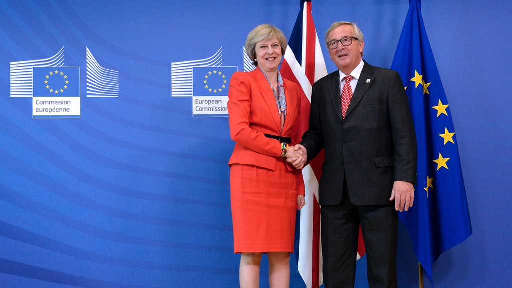 Theresa May shaking hands with Jean-Claude Juncker