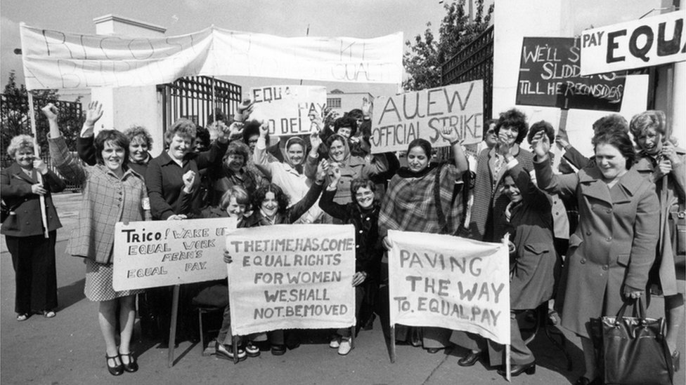 Women campaigning for equal pay outside the Trico factory in London in 1976