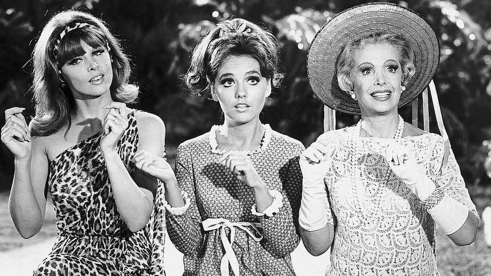 Tina Louise as Ginger, Dawn Wells as Mary Ann and Natalie Schaefer as Mrs Howell in Gilligan's Island