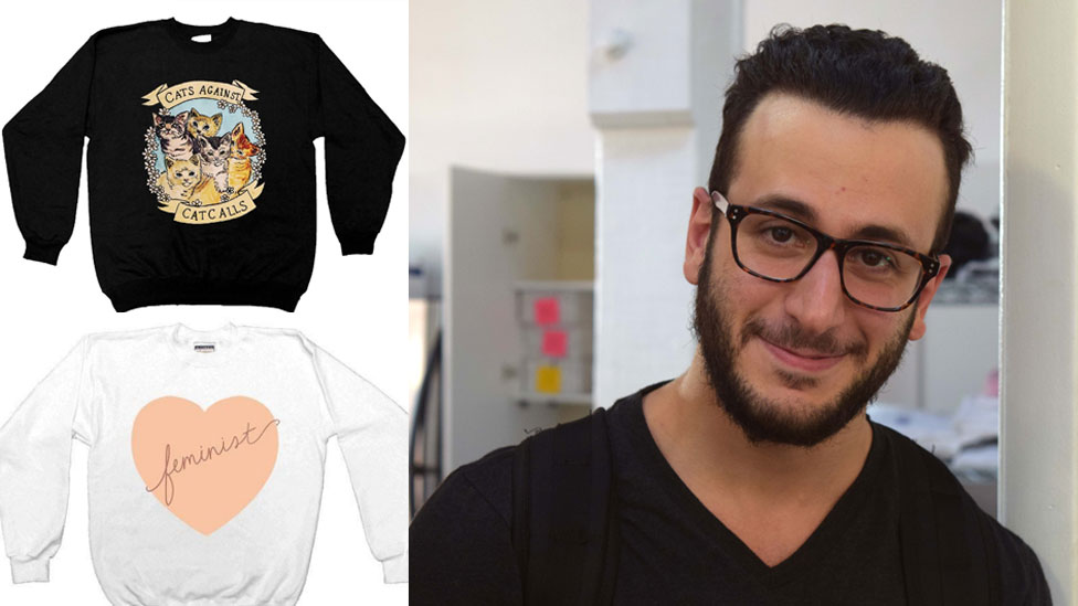 Feminist Apparel CEO Alan J. Martofel and some of the jumpers available for sale at his online retailer