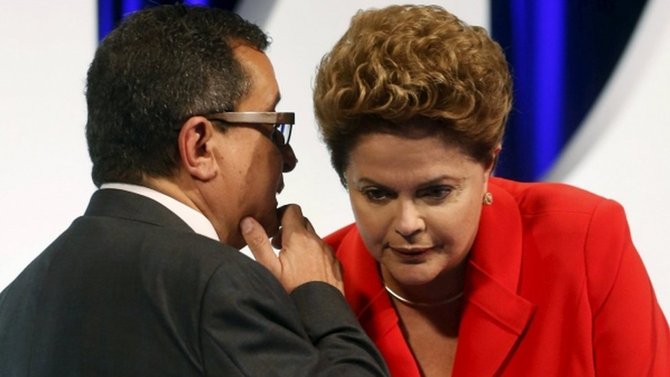 Dilma Rousseff and Joao Santana, 1 September 2014 file photo