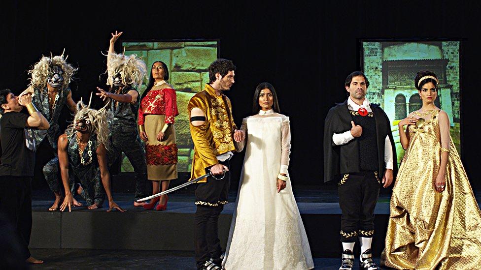 """Recreación de la pintura """"El matrimonio de la ñusta"""" en el cortometraje """"La última princesa inca""""."""