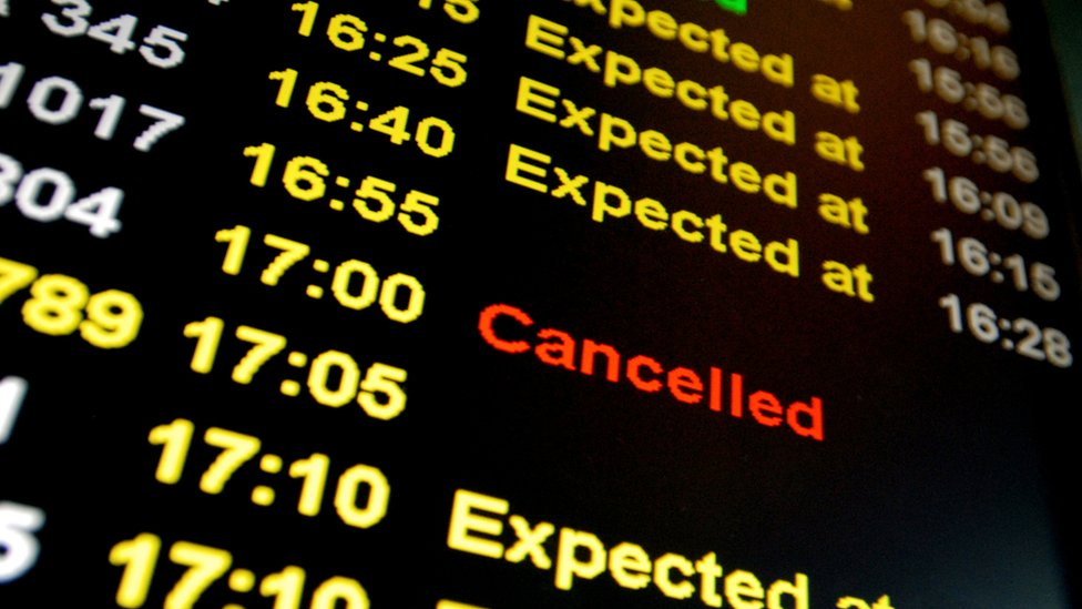Airline departure board