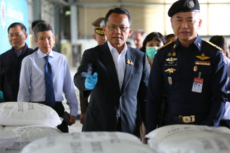 A handout photo made available by the Office of Narcotics Control Board (ONCB) shows Thai Justice Minister Somsak Thepsutin (C) and the secretary-general of the ONCB, Wichai Chaimongkhon (R) inspect after seized Ketamine inside a warehouse at Bang Pakong District in in Chachoengsao province, Thailand, 12 November 2020.