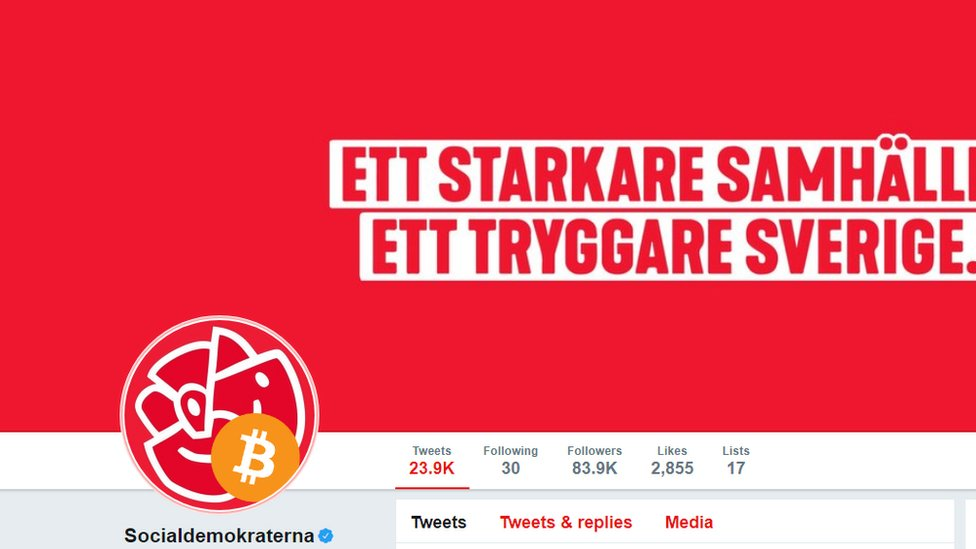 Logo of Swedish Social Democrats modified after hacking