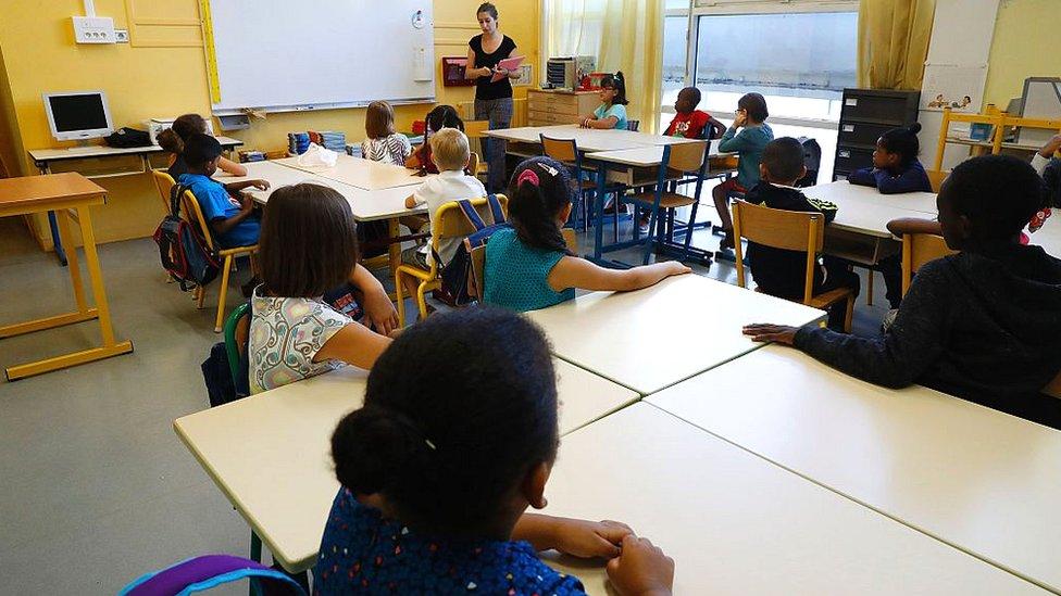 Pupils in a primary-school classroom in Paris in September 2016