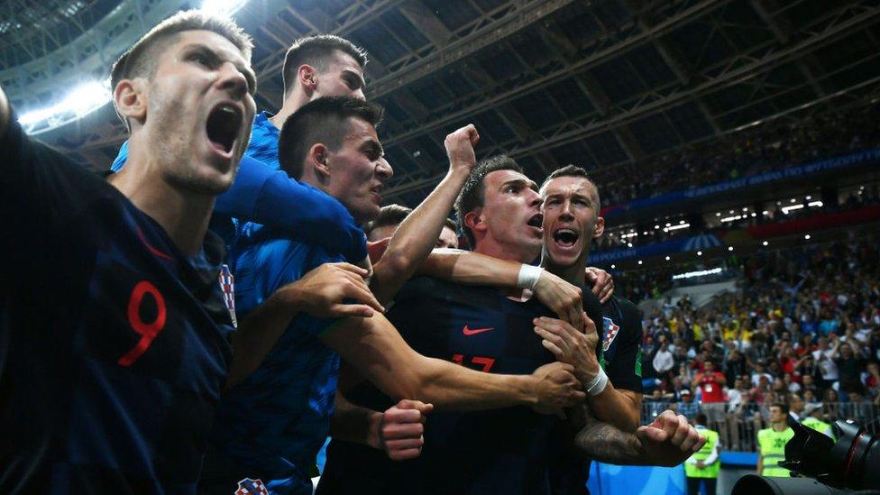 Kutlama yapan Hırvat taraftarlar