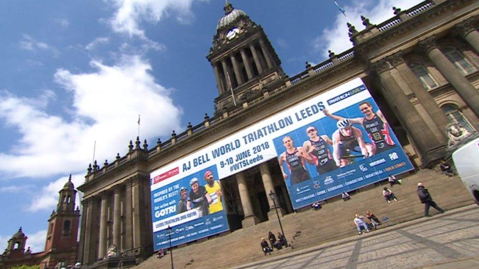 Leeds Town Hall wedding photos 'ruined by triathlon ad'