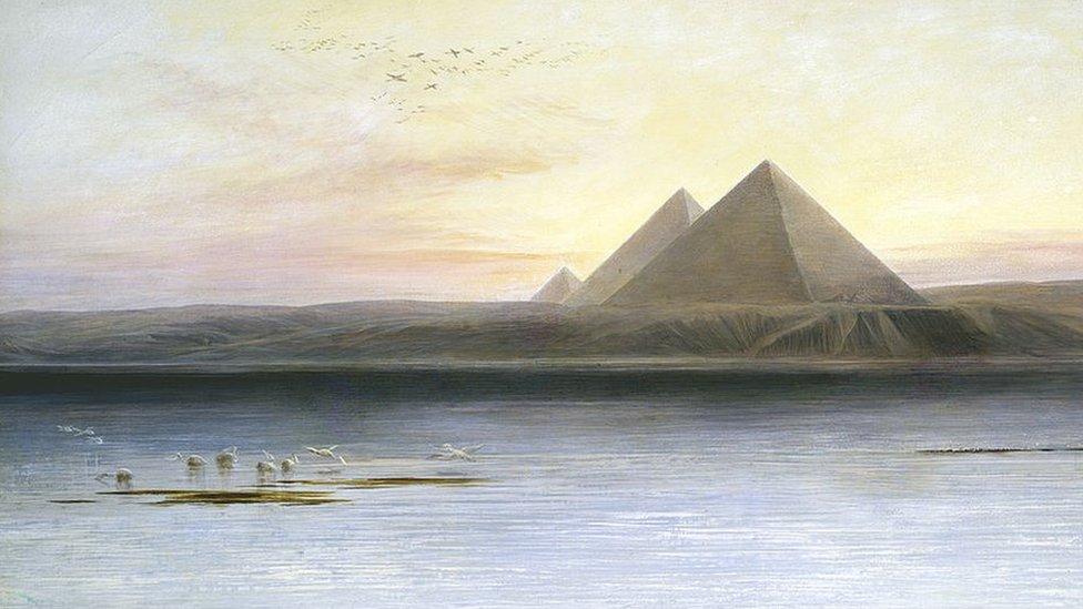 لوحة تجسد فيضان النيل بالقرب من أهرامات الجيزة للفنان إدوارد لير من أعمال القرن التاسع عشر