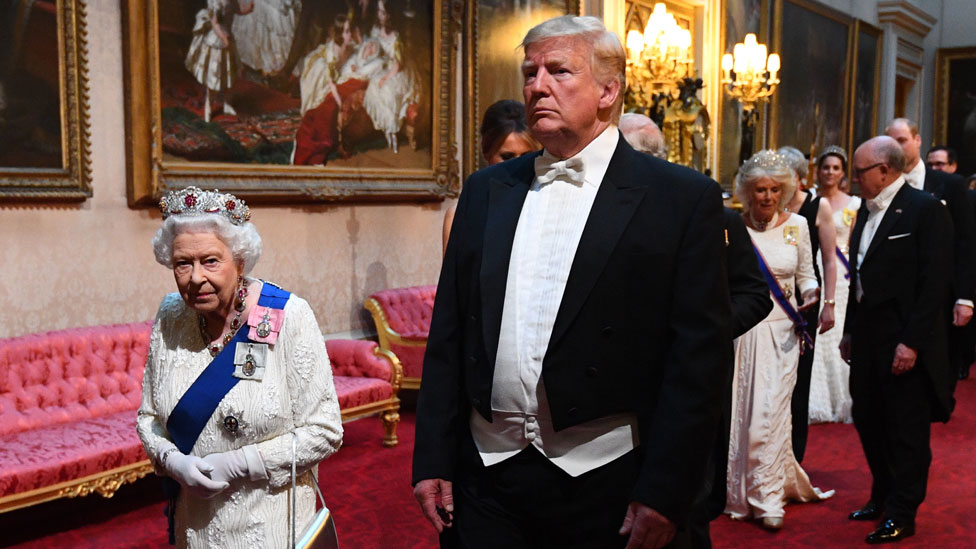 The Queen and Donald Trump arrive at the state banquet